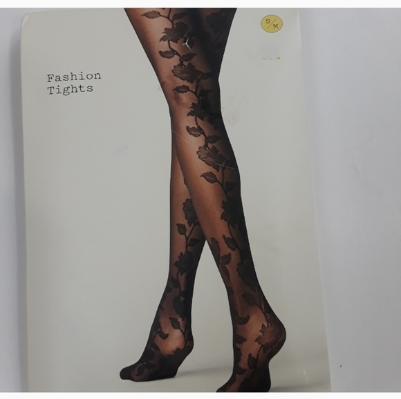 a new day Accessories - NWT Fashion Black Floral printed tights Size S/M